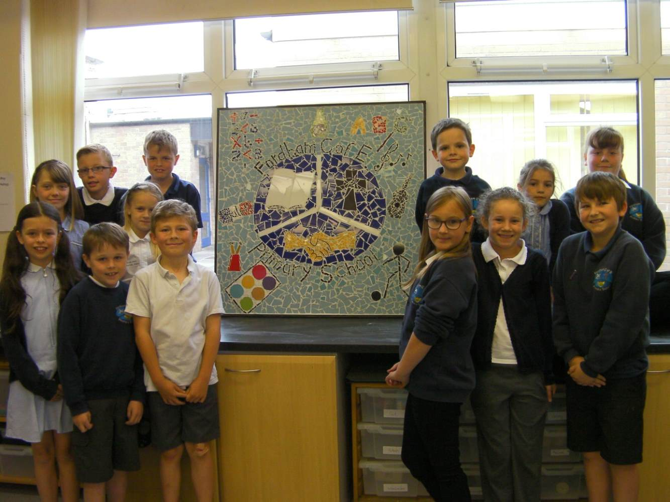 School Councillors with finished mosaic.